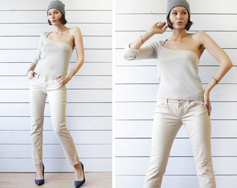 RED VALENTINO vintage beige cotton denim skinny fit straight leg mid waist jeans pants Size 28