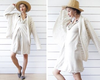 Vintage off white sheer crohet knit long sleeve circle open front shawl cardigan sweater top