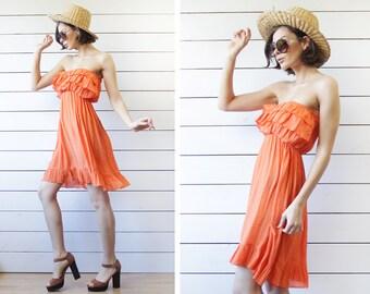 Vintage bright orange layered top strapless tunic summer beach mini dress S