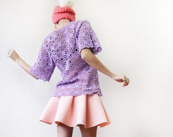Vintage lilac purple crochet lace see through short sleeve sweater top