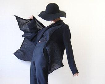 Vintage PENNYBLACK MaxMara black wool mohair knit long sleeve open waterfall cardigan duster sweater coat XL
