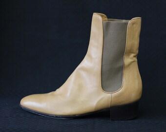 DRIES VAN NOTEN Vintage nude beige minimalist chelsea ankle boots Size 40.5 us 10