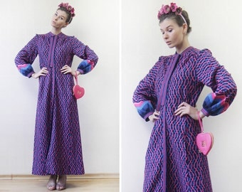 70s Vintage pink purple blue psychedelic print knit long bishop sleeve bohemian maxi dress S-M