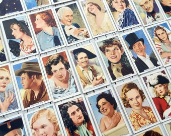 Portraits of Famous Stars, nearly full set: 45/48 film stars from the 1930s. Collectable cigarette cards from Gallaher.