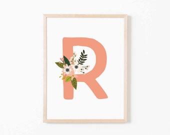 Coral Bloom R Nursery Art. Nursery Wall Art. Nursery Prints. Nursery Decor. Girl Wall Art. Personalized Wall Art. Monogram Art. Floral Art.
