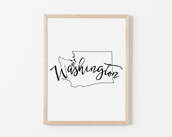 Washington Nursery Art. Nursery Wall Art. Nursery Prints. Washington Wall Art. State Wall Art. Washington Nursery.