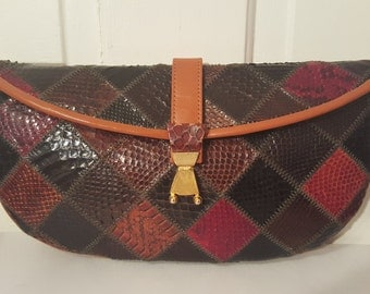 PATCHWORK SNAKESKIN CLUTCH // 70's Leather Purse Disco Party Diagonal Diamond 60's Snake Gold Chain Canada Chic Retro