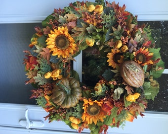 Sale!! Golden Sunflowers, Pumpkin & Gourd with Fall Leaves Wreath