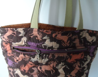Handmade horse tote bag, large quilted tote with a zippered  I Pad pocket