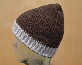 Adult Hat, Crocheted Hat, Dark Brown Hat