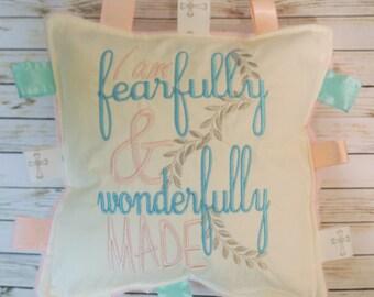 Baby Girl, Baby Boy, keepsake baptism gift, crinkle sound toy, new born gift,  I am fearfully and wonderfully made.