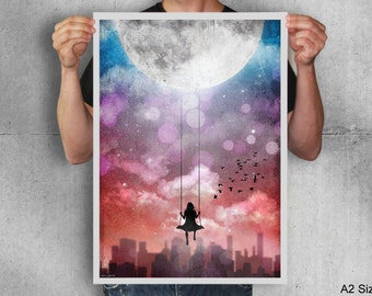 Swinging on the moon,artwork,poster,digital print,moon,girl,night,sky,art,city,night,new york,inspiration,original