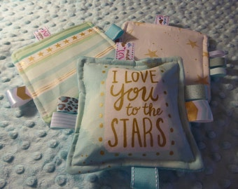 """Baby toy, crinkle toy, washable, I love you to the Stars, 5"""" toy set, 3pcs as shown, busy mom toys, baby girl"""