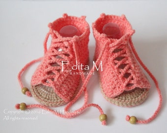 Crochet baby sandals, gladiator sandals, baby girl booties, shoes, coral, tan, summer shoes, peep toe, gift for baby, 0-3 months, 3-6 months