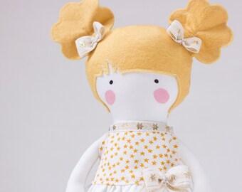 Princess Fabric Doll Rag Doll Gift for Children Custom Unique Toy for Girls Handmade Dolls Charlotte Golden Hair White Gold Stars Dress