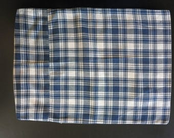 Small Antique Vintage plaid pillow cover or doll bed duvet cover