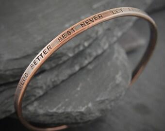 Pure Copper Bangle. Copper bracelet. Copper jewelry. Personalized copper. Copper anniversary gift. Copper gift. 7th anniversary gift.
