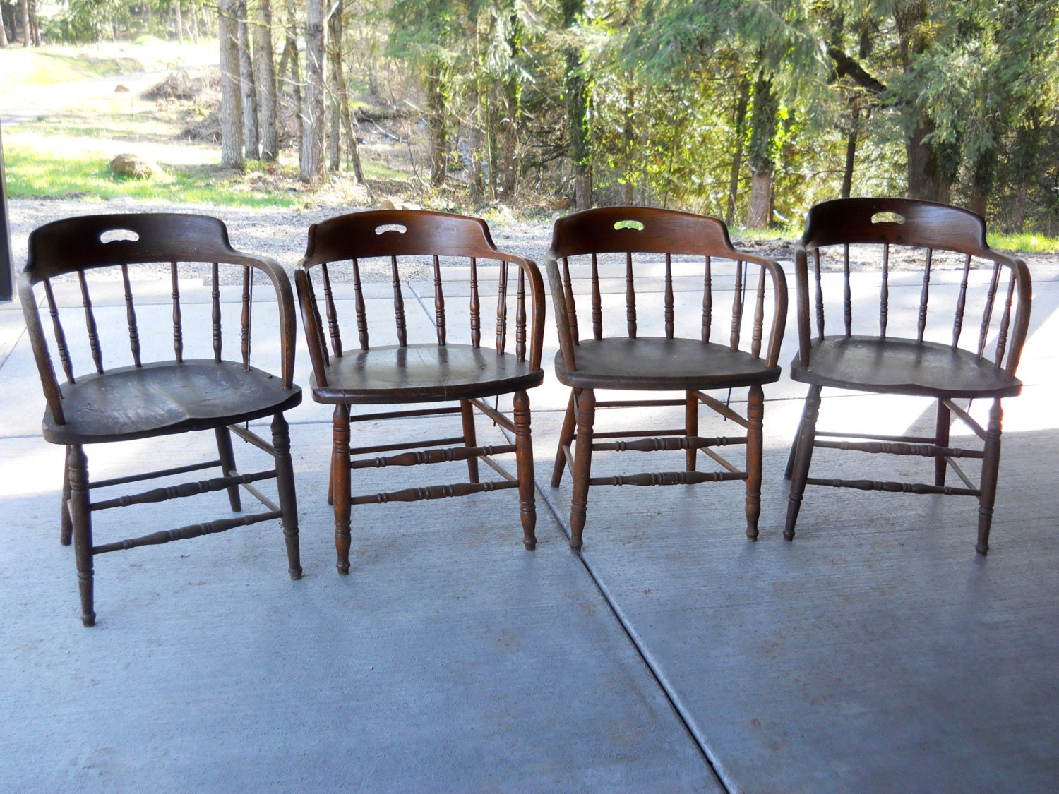 Armless bankers chair - Rare 1900 Tavern Heywood Wakefield Oak Chair Set Rustic Farmhouse Antique Western Bankers Pub