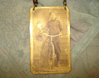 Tin Type Boy Bicycle Brass Pendant Gears Button Bike Chain Necklace