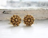 RESERVED- 18K Gold Small Round Tamborin Earrings from the Philippines