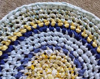 Artisan Crochet Rag Rug Cottage Shabby Chic Full Moon Textile Art Gypsy Eco Friendly Nursery Kitchen Pet Baby Shower Gift Celestial