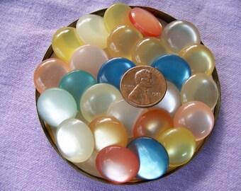 Lot of 25 Vintage Translucent Pastel Shank Buttons