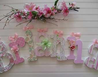 """BRIANNA - 12.00 PER LETTER Girl's name, 9"""" - 6 1/2"""" wooden letters whimsical font, pink, green, buttons, bows, flowers"""