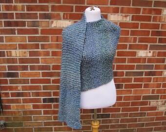 Wedgewood Blue Green Amethyst Windsor Hand Knit Prayer Shawl Handmade Wrap