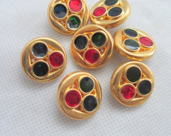 12 Vintage Retro 20 mm Gold Tone Plastic Round Button with Embedded Color Stones