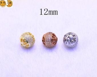 5 pcs of plated beads,rhinestone beads,copper beads 12mm