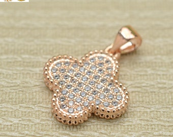 Rose gold plated beads,rhinestone crystal bead,copper beads,pendant charms 16x16mm