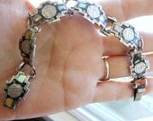 Vintage Silver and Abalone Mexican Bracelet