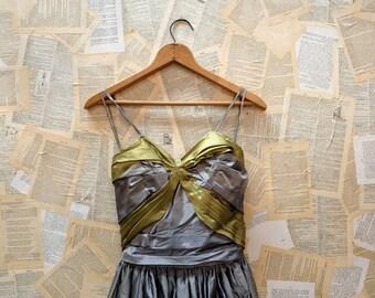 1950s Designer Kay Selig Gray and Green Taffeta Ballgown