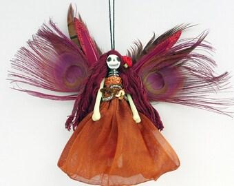 Christmas Ornament, Christmas fairy ornament, tree decoration, Day of the Dead Fairy, OOAK handmade peg doll ornament