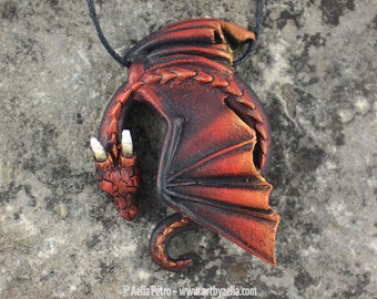 Custom Made Resting Dragon Necklace - Burning Ember Dragon - Pre-Order Shipping in 6-10 Weeks