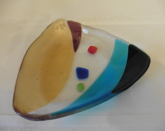 Colorful Triangle Fused Glass Plate, Great for Appetizers, Desserts, Candy Bowl and Jewelry Plate
