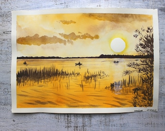 Sunset original watercolor painting 10x14 yellow brown water lake river