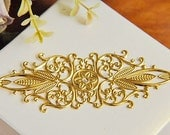 6 pcs raw Brass plating gold flower Filigree cab base Connector Finding