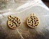 10 pcs alloy plated antique gold Round trees pendant