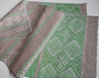 Linen towels set of 2 natural gray off green kitchen etnic towels hand towels with lace in folk style