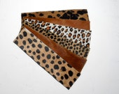 Cuff bracelet blanks, caramel Animal print - hair on hide - six pieces, set #1