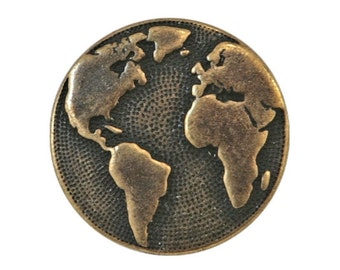 6 TierraCast Earth 5/8 inch ( 16 mm ) Pewter Buttons Brass Color