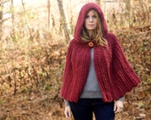 Red Hooded Cape, Maroon Crochet Capelet, Cranberry Riding Hood