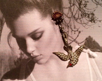 Deco Nouveau Bridal Bird Earrings 1920 1930 Vintage French Paste Rhinestone Dangles