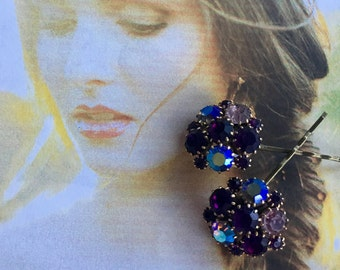 Decorative Hair Pins Renaissance Bridal Jewelry Decorative 1950's Weiss Purple Amethyst AB Rhinestone