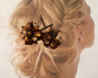 Decorative Hair Pins Jewelry 40's Woodland Goddess West Germany Hairpins Bobby Pins
