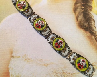 Micro Mosaic Bracelet Antique Vintage Art Deco Panel Link Yellow & White Sunshine