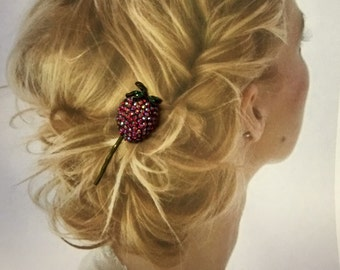 Decorative Hair Pin 1950 Weiss Red Strawberry AB Aurora Borealis Hairpin Bobby Pin (1) Summer Jewelry