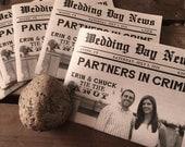 Mini NEWSPAPER Wedding Program - Custom - VINTAGE Rustic Modern Typography - Newsprint - 4 Page - Eco - Sample - Printed - Digital File