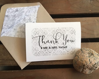 Wedding Thank You Note Cards - Watercolor Damask - Names - Mr. & Mrs. - Stationery - Recycled  - Eco - Lined Envelopes - Gift Set